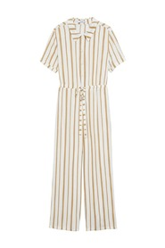 Striped jumpsuit with belt