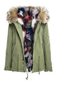 CANVAS MINI PARKA WITH PATCH FOX FUR LINING