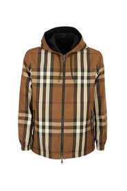 Reversible Check Technical Cotton Hooded Jacket