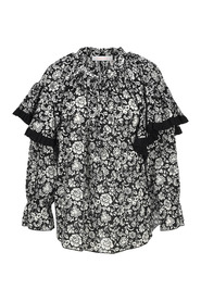 Graphic peonies printed blouse