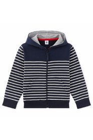 Petit Bateau - Cardigan, Zippered Sweatshirt - Smoking Blue / Coquille Beige