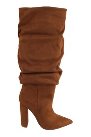Slouch heeled suede boots