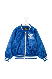 Bomber Jacket in Satin with Logo