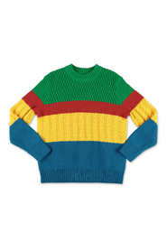knit cotton and wool patchwork effect jumper
