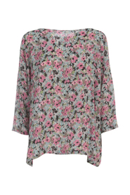 WIDE ROUND NECK LONG SLEEVE SWEATER WITH FLOWERS PRINTING