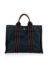 Paris Vintage Blue Cotton Fourre Tout PM Tote Bag