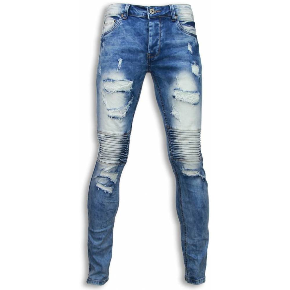 New Ripped Jeans - Slim Fit Biker Jeans Holed Knee