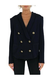Embossed buttons double-breasted blazer