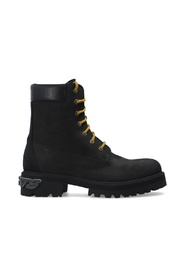 Suede trekking boots with logo