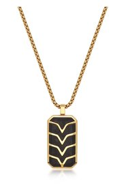 Men's Forged Carbon Fiber Dog Tag with Gold Chevron Detail