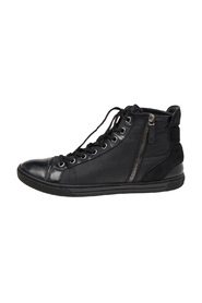 Pre-owned Leather Trim Zip Up High Top Sneakers