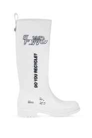 Branded rain boots