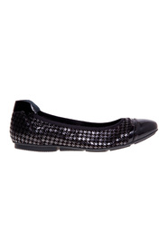 Ballerina in black suede with contrasting houndstooth print