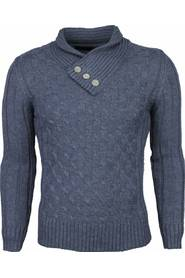 Casual Pullover Col Collar Knitwear Design buttons