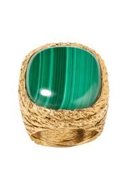 Miki Malachite gold plated ring