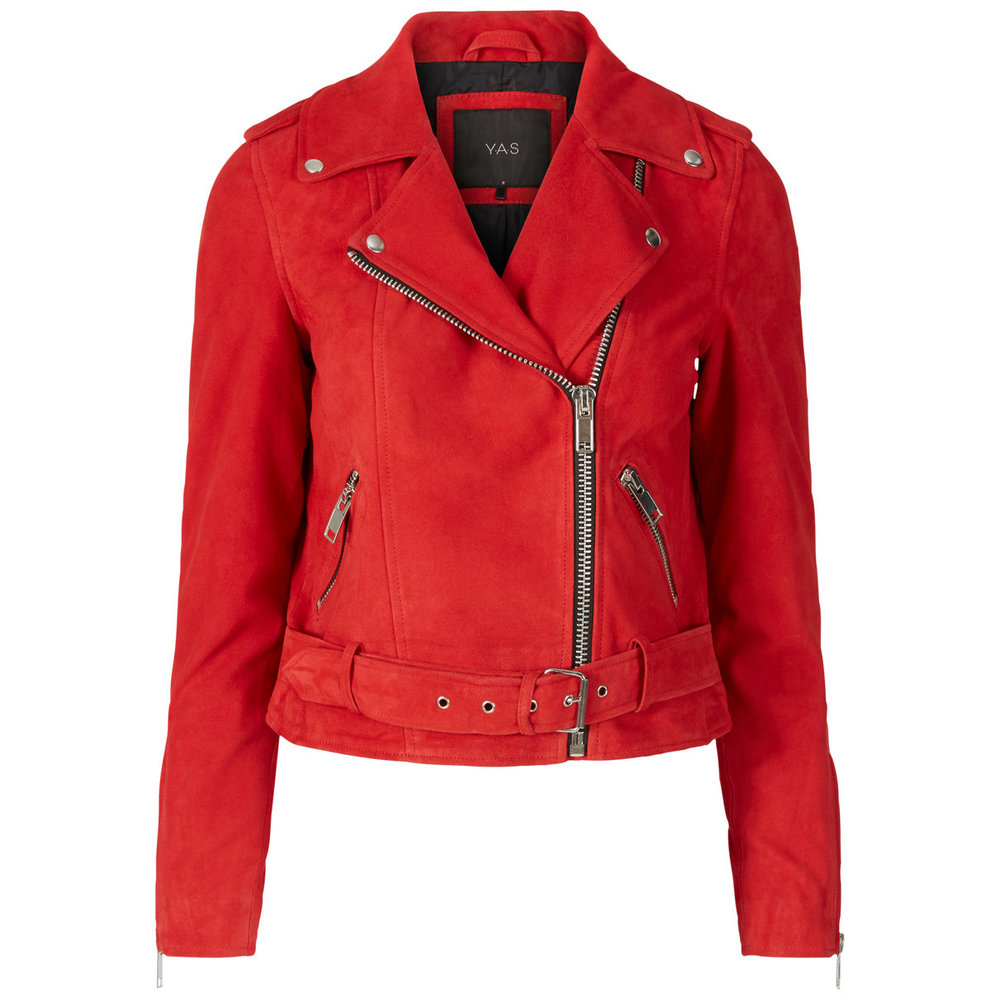 Leather jacket biker suede