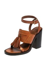 pre-owned Leather Bethany Tassel Detail Block Heel Sandals