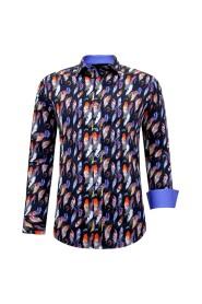 Satijn Overhemd Heren - Vogel Veer Print - 3092