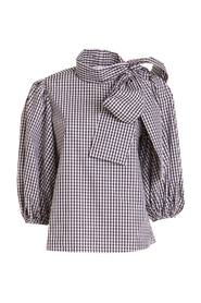 Checked shirt with bow