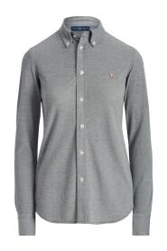 Skinny Long Sleeve Knit Skjorte