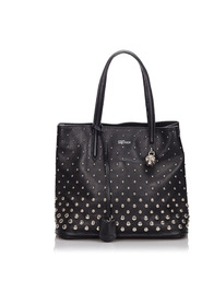 Skull Padlock Studded Leather Tote Bag