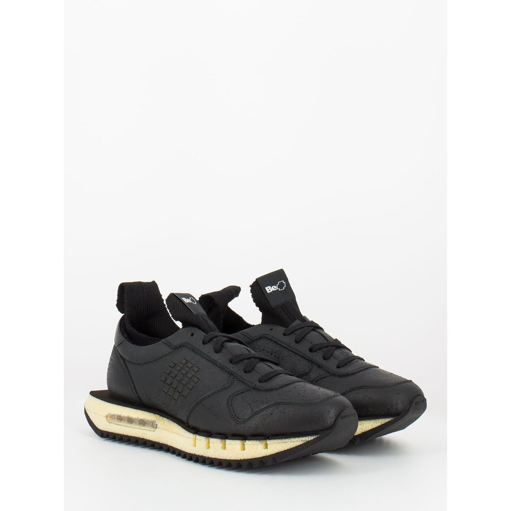 Black Cyber plus sneakers in damaged effect leather   Be Positive   Sneakers   Men's shoes