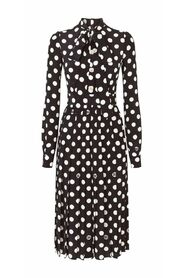 Midi Dress With Polka-Dot Print With Pleated Skirt and Pearl DG Embellishment