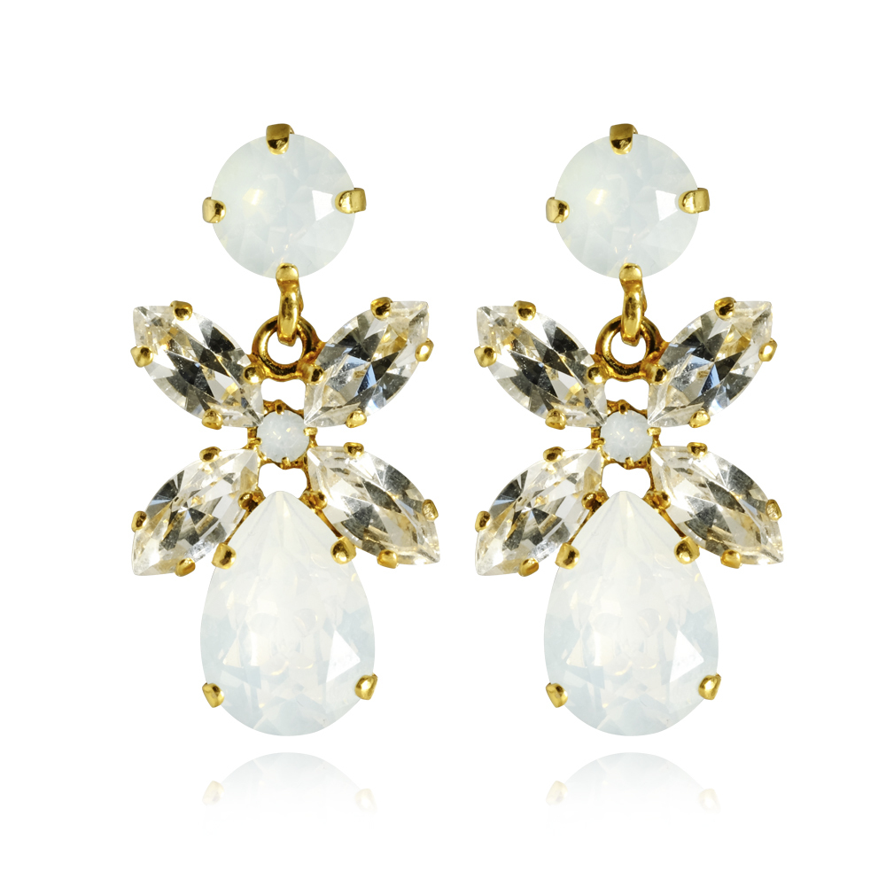 Mini Dione Earrings / White opal + crystal - Caroline Svedbom