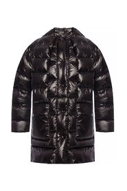 Quilted down jacket with tie fastening