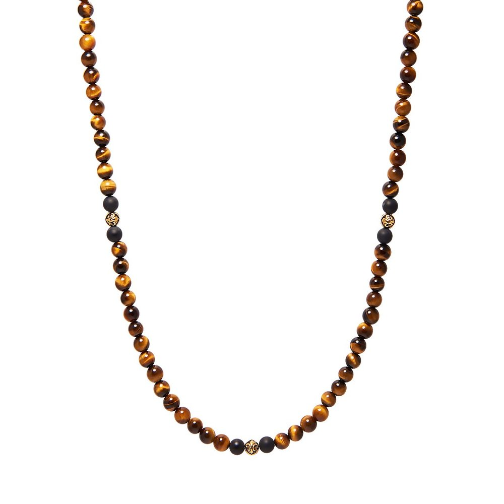 Men's Beaded Necklace with Brown Tiger Eye