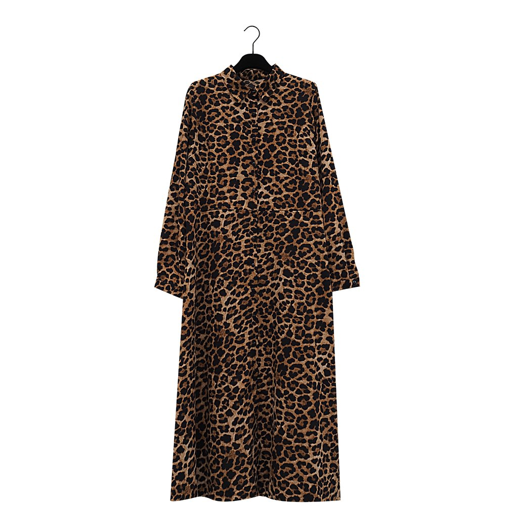 RABEEL Leopard Print Shirt Dress