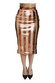 Striped High Waist Midi Skirt