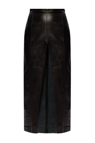 Leather-trimmed skirt
