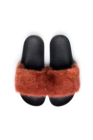 MINK FUR SLIPPERS COPPER