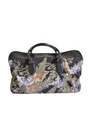 Large Floral Print and Leather Weekend Bag