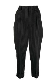 STRIPED CARROT FIT PLEATED TROUSERS