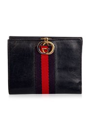Leather Medium Compact Wallet with Stripes