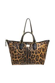 Leopard Print Coated Canvas and Leather Zip Tote
