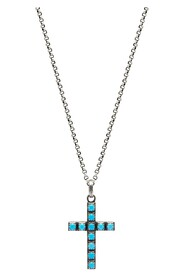 Men's Silver Necklace with Turquoise Cross Pendant