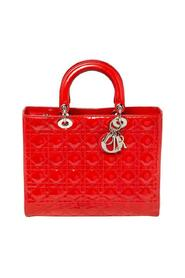 Pre-owned  Cannage Patent Leather Large Lady Dior Tote