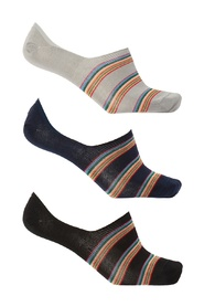Striped no-show socks 3-pack