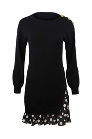 Knitted Dress with Spot Frill Detail