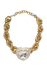 GOLD TONED CHOKER WHIT CRYSTAL HEART