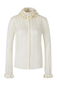 Lamé Ruffle Neck Blouse