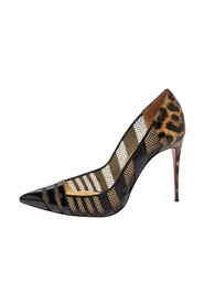 Animal Print Patent Leather and Mesh Bandy Pointed Toe Pumps