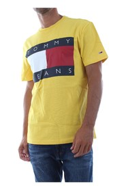 TOMMY JEANS DM0DM07009 FLAG TEE T SHIRT AND TANK Men YELLOW