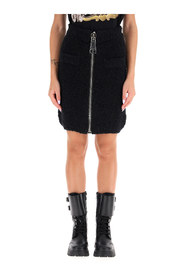 boucle' mini skirt with maxi zip