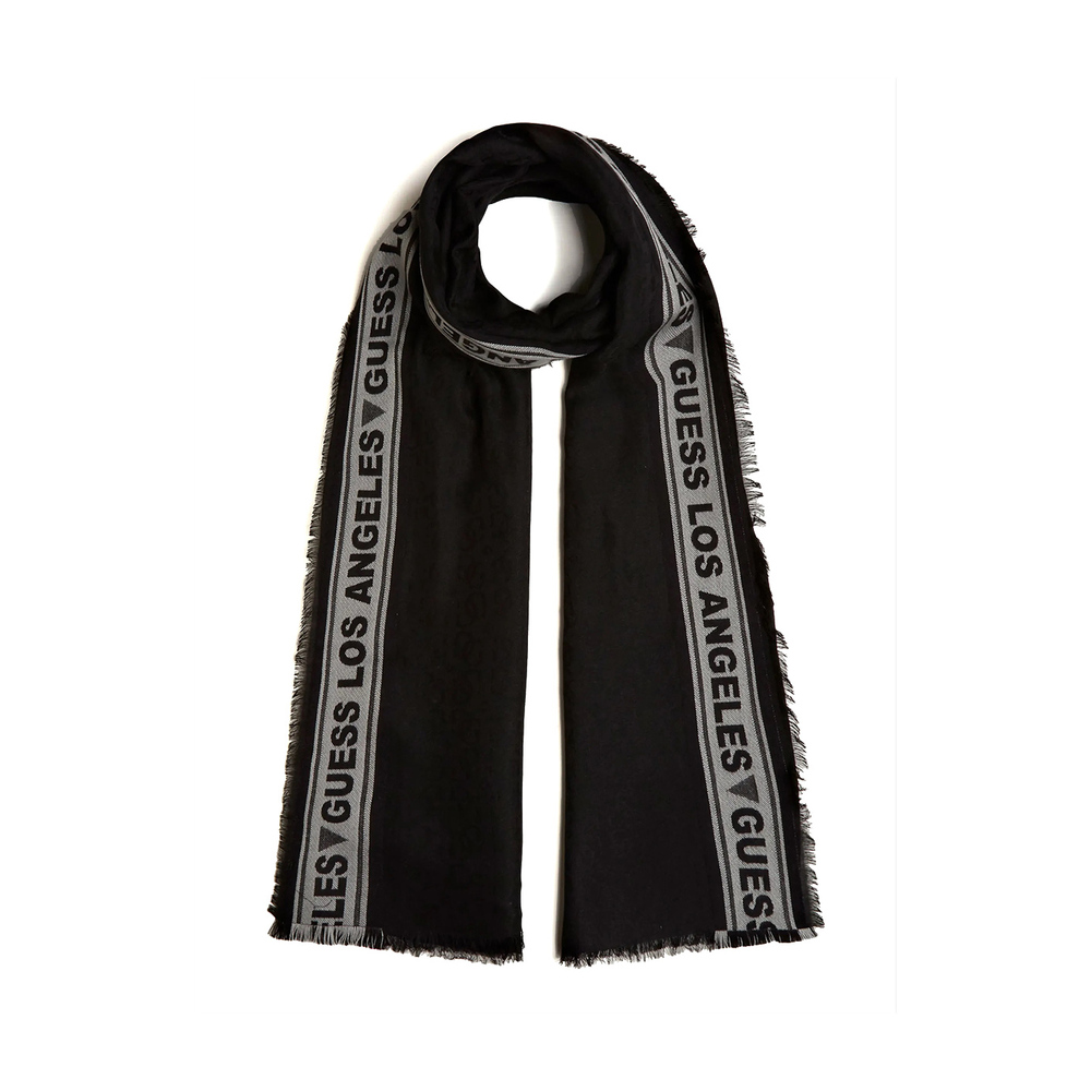 Black All Over Jacquard Logo Scarf | Guess | Sjaals | Heren accessoires
