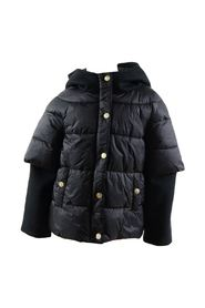 Down jacket with fleece sleeves and hood
