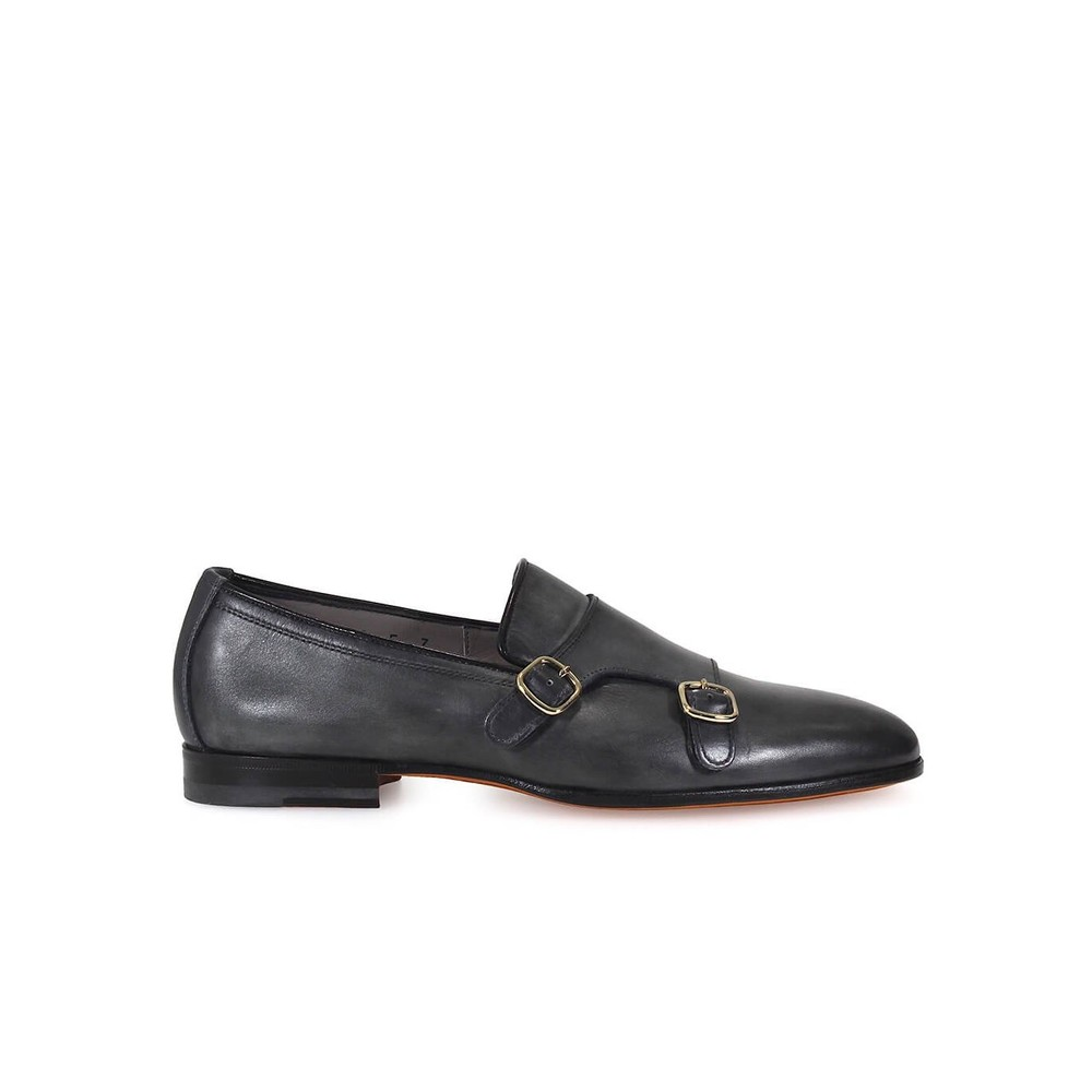 DOUBLE BUCKLE LEATHER LOAFERS